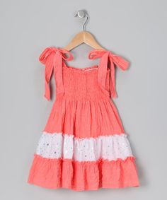 Take a look at this Coral & White Sequin Sundress - Toddler & Girls by Lele for Kids on #zulily today!