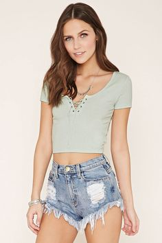 Style Deals - A short-sleeved crop top crafted from ribbed knit with a lace-up neckline.