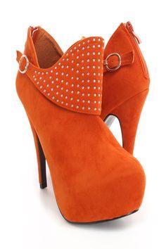 Orange Faux Suede Rhinestone Decor Booties