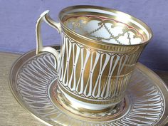 Antique gold tea cup and saucer set vintage Royal by ShoponSherman,