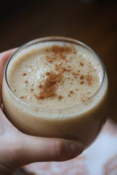 1 Chai teabag 2 medium banana, peeled 1-inch knob ginger, peeled 2 tablespoons honey 1 cup unsweetened almond or coconut milk Cinnamon for g...