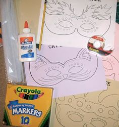 Mardi Gras mask craft, includes free template printable.