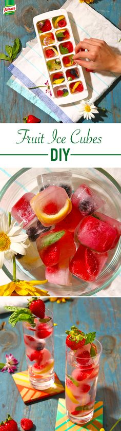 A cool, fun idea to savor the summer season? Drop one of these fruit, flower, and herb flavored ice cubes into a drink. How to DIY? Fill a tray a quarter of the way with water, add ingredients, and freeze. Add water to top and refreeze. Pop and enjoy!