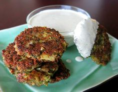 Broccoli-Almond Fritters with Creamy Lemon-Tarragon Sauce