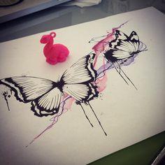 """""""""""Quella che il bruco chiama fine del mondo,il resto del mondo chiama farfalla."""" #butterfly #butterflytattoo #draw #drawing #watercolor #watercolour…"""""""