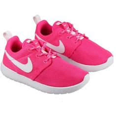 Nike Shoes Kids Roshe Run Hyper Pink White ($63) ❤ liked on Polyvore featuring shoes, sneakers, baby, baby girl and roshe