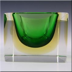 Murano Faceted Green & Amber Sommerso Glass Bowl - Label - £99.99