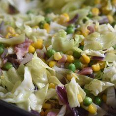Spidskål på panden - med bacon & ærter Pasta Salad, Potato Salad, Grilling, Recipies, Appetizers, Low Carb, Keto, Snacks, Dinner