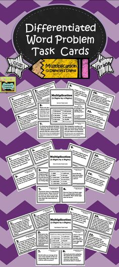 .Set of 36 division task cards aligned with 4th grade CCSS! Three subsets of cards: review, extra practice, and enrichment. Each set contains 12 word problem task cards. The review cards have hints for the students. The enrichment cards include multi-step problems and involve higher level thinking skills. These task cards are great for early finishers, small group practice, individual review or enrichment, or test preparation! $ #taskcards #multiplication
