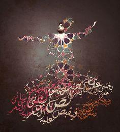 Whirling Dervish Sufi Dancer Calligraphy