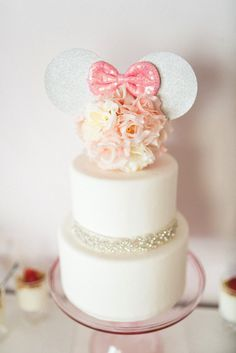 Cake from an Elegant Minnie Mouse Boutique Birthday Party via Kara's Party Ideas! KarasPartyIdeas.com (4)