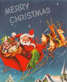 vintage Christmas card illustration