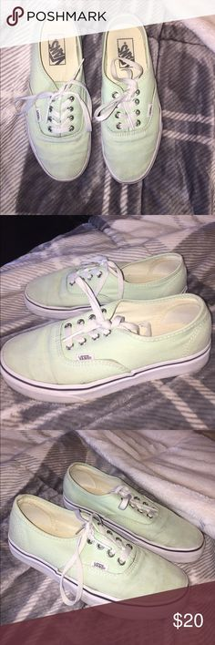 mint green vans worn but still in great condition!! definitely have alot of life left in them Vans Shoes Sneakers