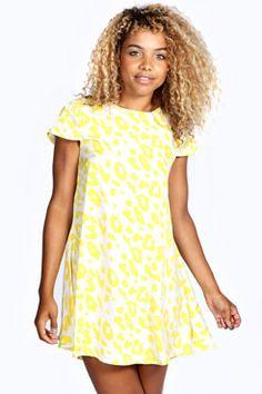 Hettie Neon Animal Print Shift Dress at boohoo.com