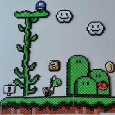 Yoshi scene hama beads by malinrosenback Hama Beads Mario, Perler Bead Mario, Diy Perler Beads, Mario Crafts, Nerd Crafts, Pixel Beads, Fuse Beads, Pearler Bead Patterns, Perler Patterns