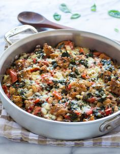 Skillet Tomato Casserole with White Beans and Parmesan Croutons. Easy, healthy, and only needs one pan!