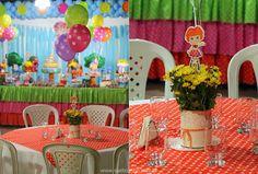Centro de mesa para festa infantil produzido de lata de leite em pó