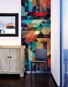 Artist Spires is a master of colorful, geometric artwork and his syy pyy syy Pattern Wall Tiles by Blik wall decals is a trippy mix that will brighten up any room.