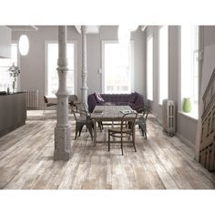 Shop Style Selections Natural Timber Whitewash Glazed Porcelain Indoor/Outdoor Floor Tile (Common: 6-in x 36-in; Actual: 5.79-in x 35.96-in) at Lowes.com