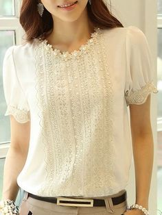 Appealing Round Neck Chiffon Pure Short-sleeve-t-shirt