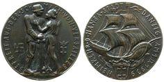 Münchner Medailleure Weissmetall Vereinigung Danzigs mit dem Deutschen Reich, v. Karl Goetz, ca. 35,8 MM Medaille 1939 ss-vz