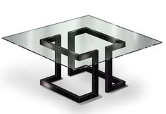 Gonzalo De Salas - Mesa de Comedor Lisa: Diseño. Mesa. Hierro Lacado al Horno Color Negro Metalizado con cristal de 15mm. Año: 2007