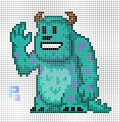 Sulley Monsters, Inc. perler pattern - Patrones Beads / Plantillas para Hama