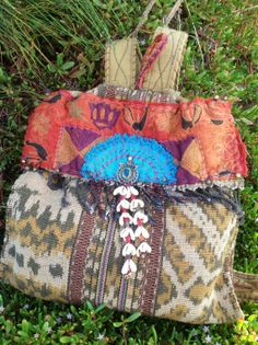 PEACOCK PACK  vintage hand woven Ikat embroidered by KITAbags, $600.00