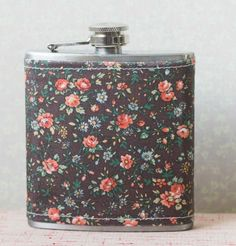 Brown floral fabric covered 6 oz stainless steel by TheBanditHat, $17.00