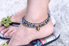 Lapis lazuli Layer Chain Anklet by XtraVirgin on Etsy