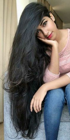 Lengthen hair in a day – Beauty Long Face Hairstyles, Indian Hairstyles, Beautiful Long Hair, Gorgeous Hair, Long Indian Hair, Long Dark Hair, Straight Black Hair, Really Long Hair, Braids For Long Hair