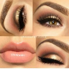 Brown and gold eye makeup w/nude lips