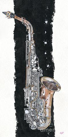 Saxophon 02 - Elena Yakubovich Painting  - Saxophon 02 - Elena Yakubovich Fine Art Print