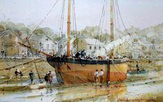 watercolour by David Norman (UK) Dry Dock, 43 x 20 cm.