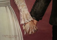 Take my Hand, Love. Captain Swan Wedding art Emma Swan and Killian Jones from Once Upon a Time