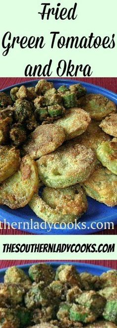 Southerners love fried green tomatoes and fried okra and can't wait to make this dish with fresh garden vegetables when summer arrives each year. Okra Recipes, Vegetable Recipes, Vegetarian Recipes, Cooking Recipes, Recipies, Okra And Tomatoes, Fried Tomatoes, Fried Green Tomatoes Recipe Easy, Baked Green Tomatoes