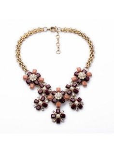 $15.95USD at www.bibjewelry.com | Worldwide Shipping | Statement Necklace | Bib Necklace | Annabelle Florals Pink Necklace