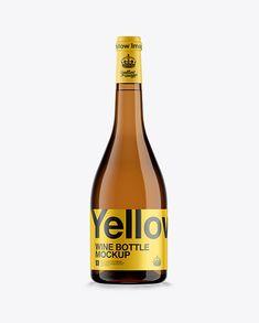 Amber Glass Burgundy Bottle W/ White Wine HQ Mockup. Preview