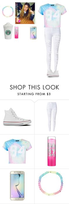 """Hanging with the squad "" by wildcalifornia2016 ❤ liked on Polyvore featuring Converse, WithChic, New Look, Maybelline, Samsung and Accessorize"