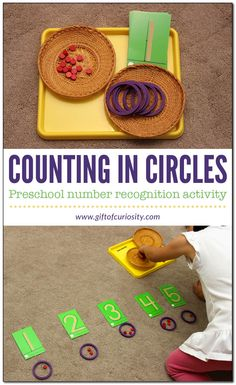 Counting in circles: Preschoolers and kindergarteners learn to match quantities with number symbols in this Montessori-inspired, hands-on math activity. #Montessori #handsonlearning #preschool #kindergarten #math #numbers || Gift of Curiosity