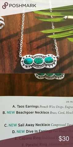 """Silpada Sailing Away necklace Compressed turquoise  Sterling silver  18-20"""" long New Never worn Silpada Jewelry Necklaces"""