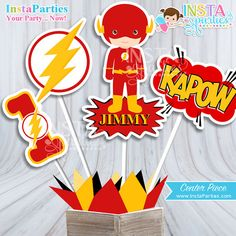 The Flash Centerpiece , Flash Superhero boy center piece, super hero boy centerpieces decorations Birthday Party digital supplies man flash etsy instaparties 8.99