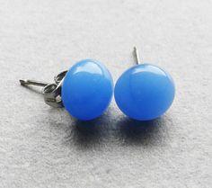 Sky Blue Stud Earrings  Fused Glass Earring Studs   by GLASPUNT