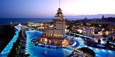 Mardan Palace, Turkey This stunning pool is located at the Mardan Palace hotel in Antalya, a city on the Mediterranean coast of southwestern Turkey. Photo by: Mardan Palace Hotel Ubud Hotel, Hotels In Bali, Spa Hotel, Hotel Pool, Hotels And Resorts, Places Around The World, Oh The Places You'll Go, Places To Travel, Vacation