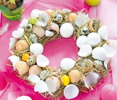 Art Floral, Floral Wreath, Straw Wreath, Easter Lunch, Birch Branches, Metallic Paint, Creative Ideas, Egg Shell, Godchild