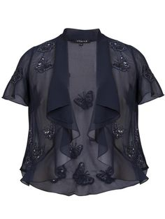 Navy Butterfly Chiffon Jacket £105 - Navy georgette shrug is embellished with a matching butterfly beaded design . A waterfall neckline and short sleeves make it the perfect accompaniment to its matching dress or navy camisole and palazzo trousers. 60cm from shoulder neck point to hem. — at http://www.chescadirect.co.uk/products/1426-navy-butterfly-chiffon-jacket.