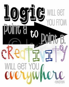 INSPIRATIONAL Art  QUOTE - Logic and Creativity - Einstein -  Wall Art Print - 8x10. $10.00, via Etsy.