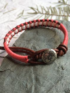 Bracelet Leather Wrap Metal Button Knotted by GratefulBeadBoutique
