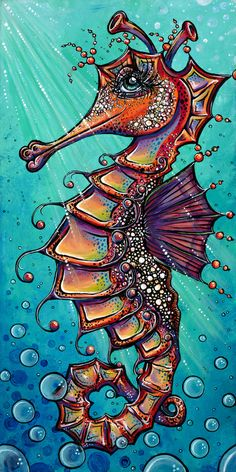 Sassy the Seahorse Stretched Canvas By Allie P. Seahorse Drawing, Seahorse Art, Octopus Art, Fish Art, Octopus Painting, Seahorses, Sea Art, Mermaid Art, Whimsical Art
