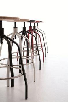 Height Adjustable Steel And Wood Stool VITO   AREA DECLIC